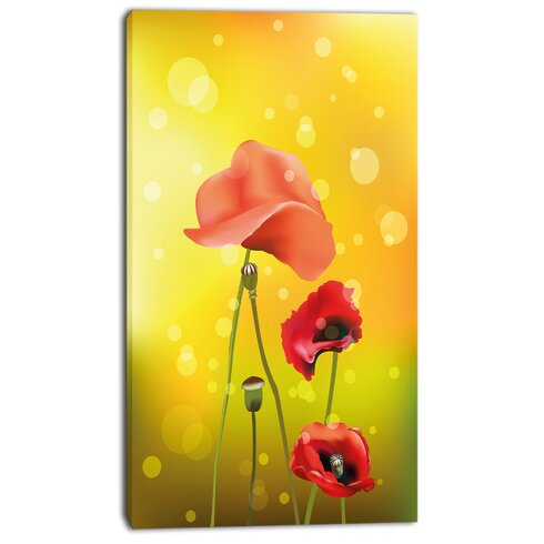 DesignArt \'Red Flowers on Yellow Background\' Graphic Art on Wrapped ...