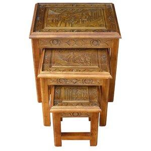 3-tlg. Satztisch-Set Chinese Carved von Grand International Decor