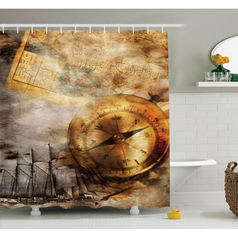 Ambesonne Compass Old Paper Ship Shower Curtain Set | Wayfair