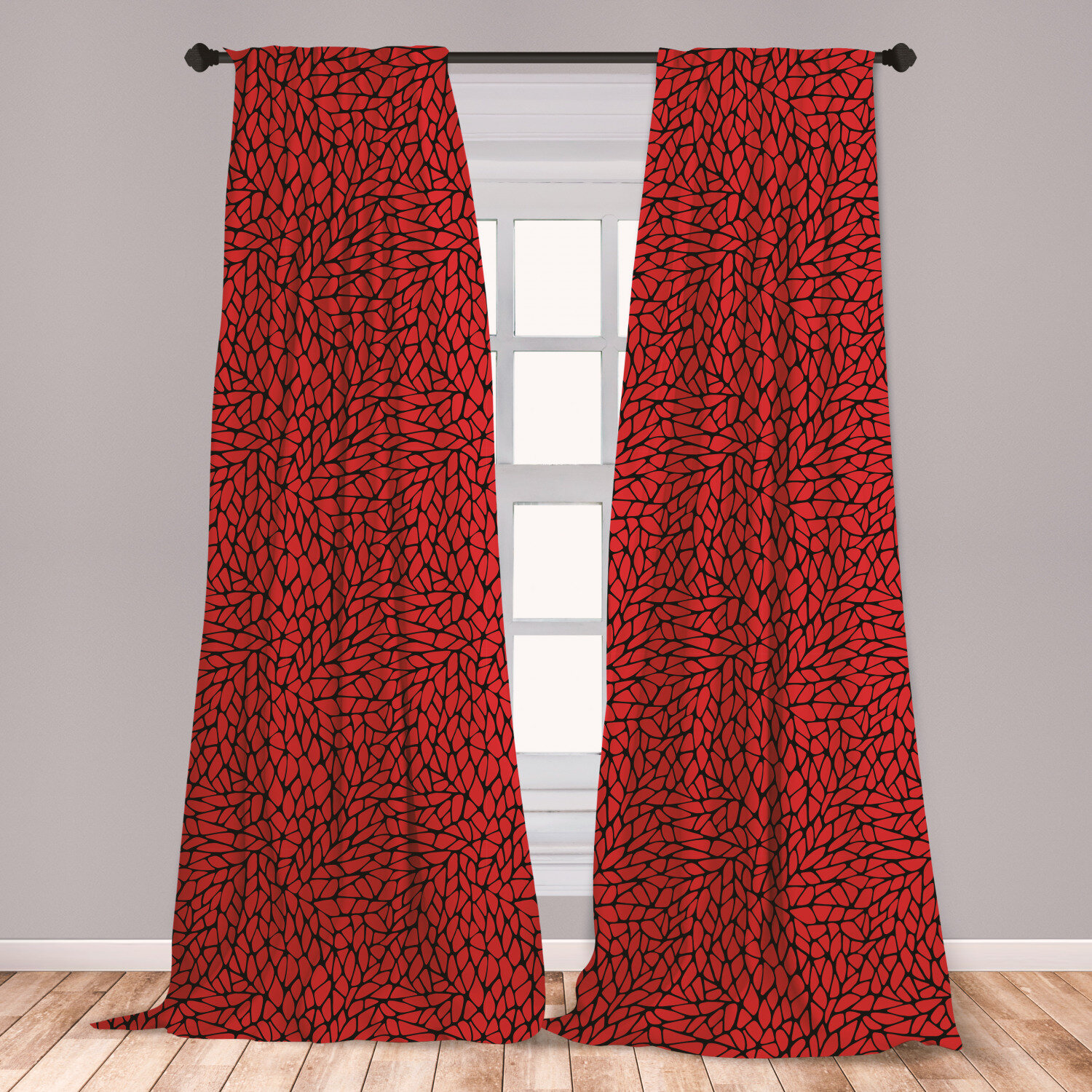 Ambesonne Red And Black Window Curtains