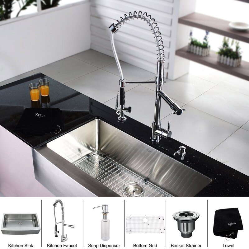Kraus 36 x 21 Farmhouse Kitchen Sink with Faucet and Soap