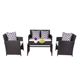 Look for Schimpl 4 Piece Rattan Sofa Set with Cushions Great Price