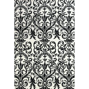 Great deal Josephine Ebony/White Area Rug By House of Hampton