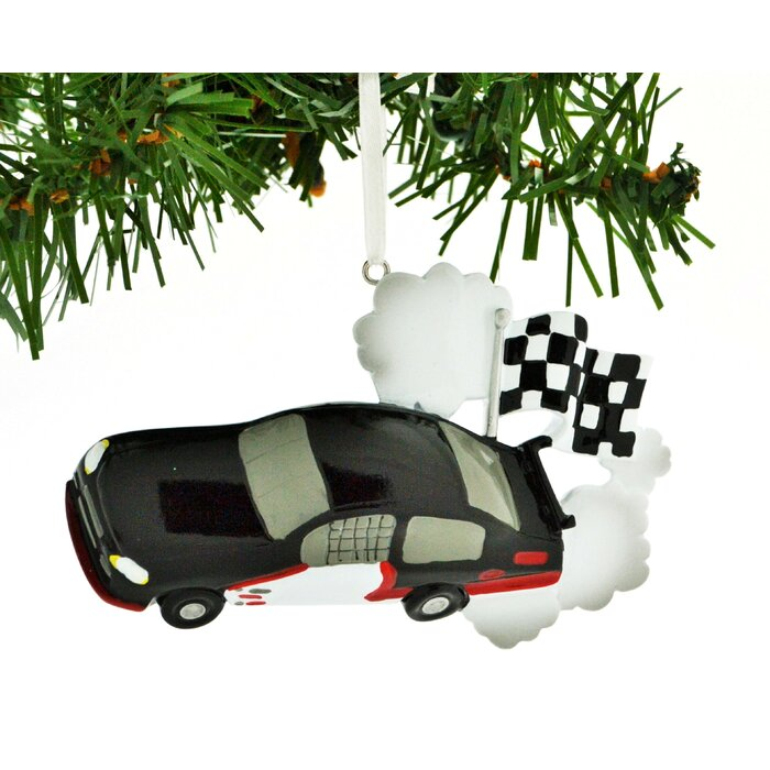 Car Christmas Ornaments.Personalilzed Christmas Ornament Race Car Checkered Flag Hanging Figurine