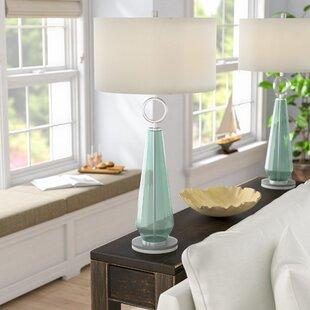 Jaylah Transitional Sea Glass Acrylic and Metal 36 Table Lamp