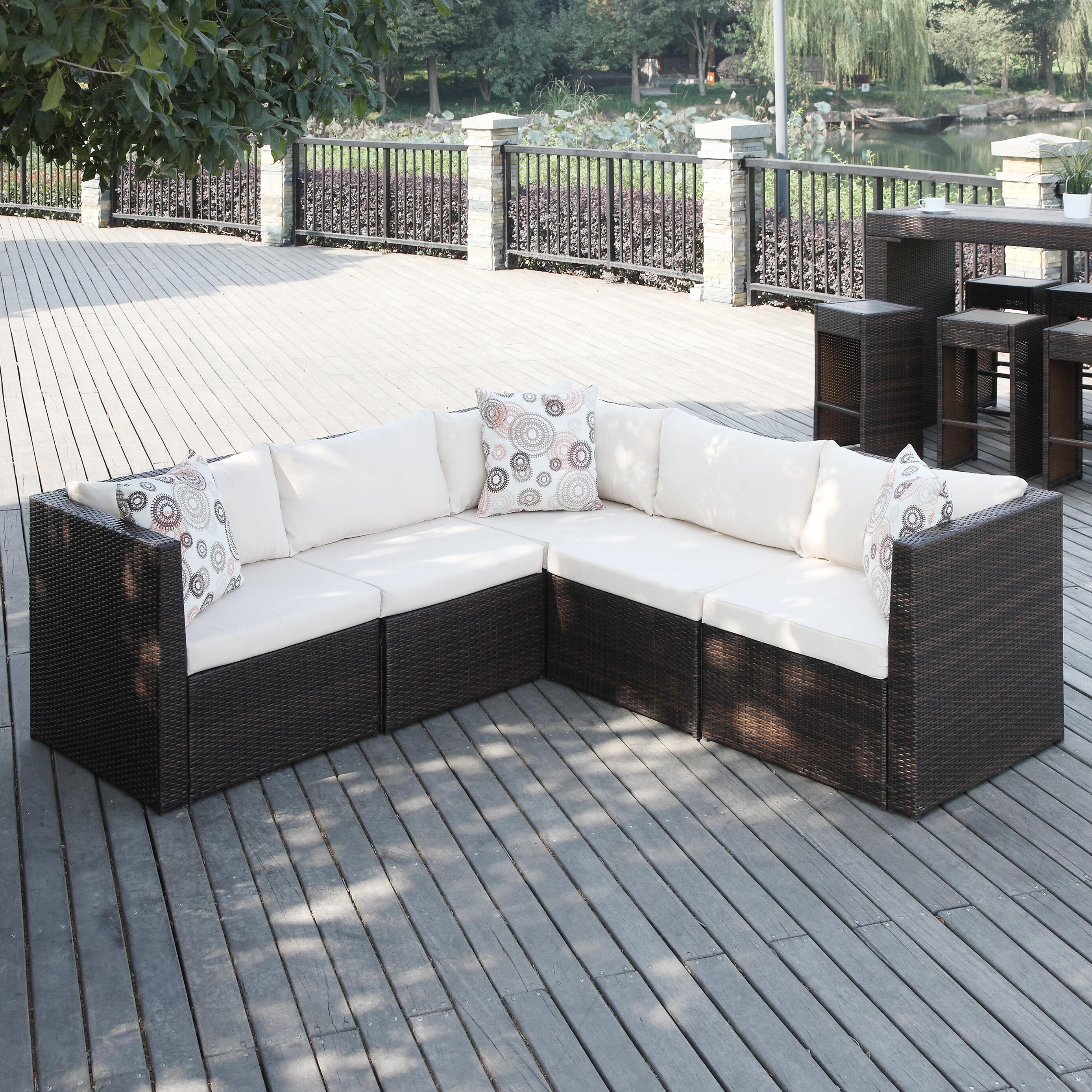 Mercury Row Lachesis Patio Sectional With Cushions U0026 Reviews | Wayfair