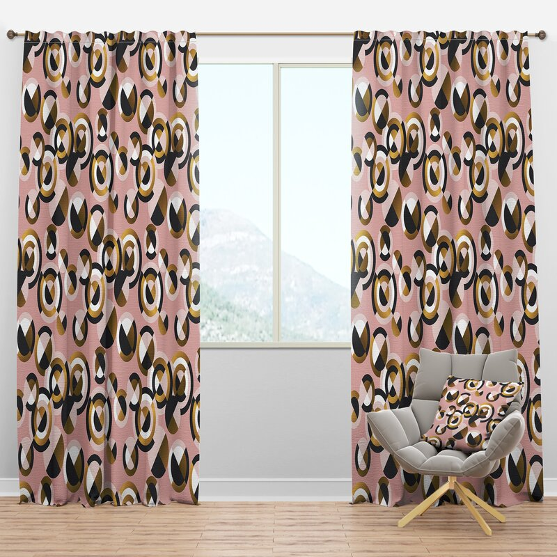 Designart Mid Century Circular Shapes Geometric Semi Sheer Thermal Rod Pocket Curtain Panels Wayfair