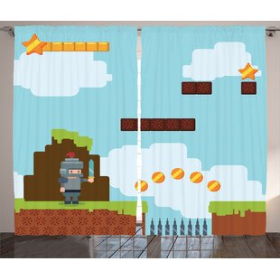 Video Games Arcade World Kids 90s Fun Theme Knight With Sword Fireball Bonus Stars Coins Graphic Print Text Semi Sheer Rod Pocket Curtain Panels Set Of