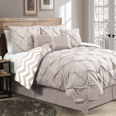 House of Hampton Germain Reversible Comforter Set Color: Taupe, Size: Twin Comforter