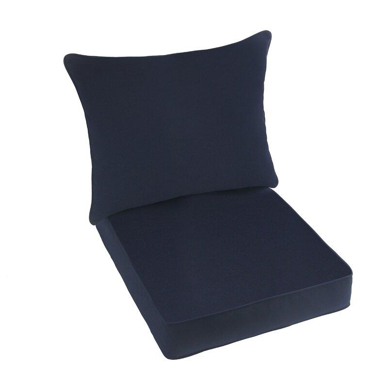 2 Piece Indoor/Outdoor Sunbrella Lounge Chair Cushion Set