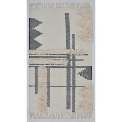 Union Rustic Christenson Handwoven Wool Charcoal Area Rug Rug Size: Rectangle 3' x 5'