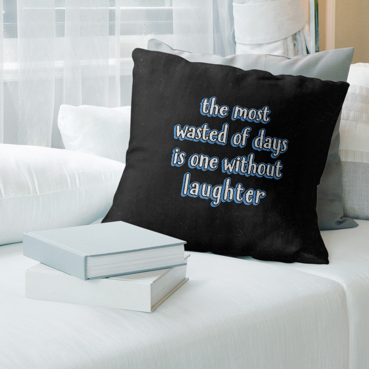 East Urban Home Laughter Inspirational Quote Chalkboard Style Pillow Wayfair