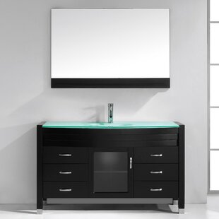 Carstarphen 55 Single Bathroom Vanity Set with Clear Top and Mirror by Mercury Row