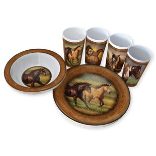 Mikhail Horse Melamine 12 Piece Dinnerware Set, Service for 4
