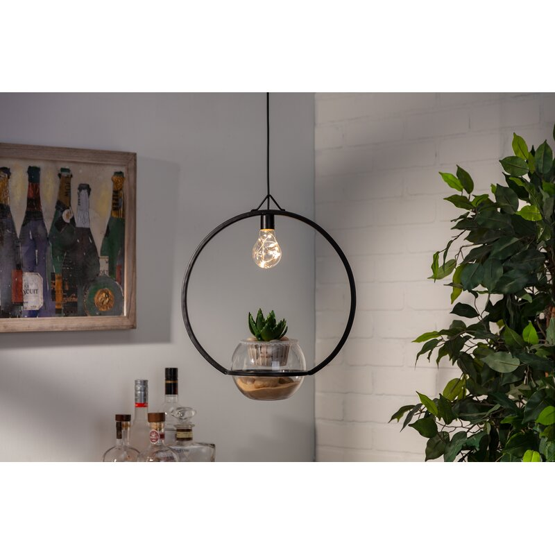 Gracie Oaks Deangelis 1 Light Single Globe Pendant With Wrought Iron Accents Wayfair