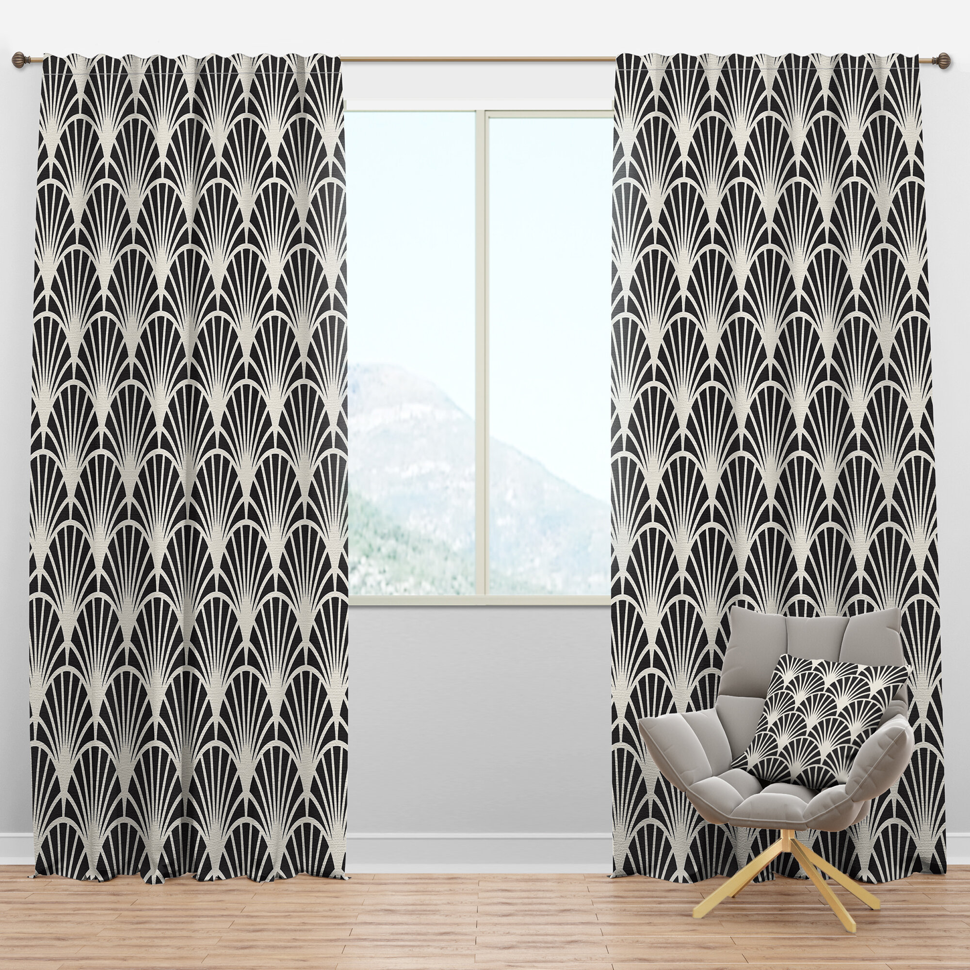 Designart Mid Century Retro Art Deco Waves I Geometric Semi Sheer Thermal Rod Pocket Single Curtain Panel Wayfair