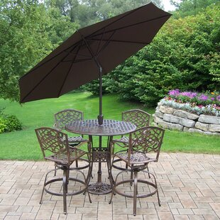 Astoria Grand Thelma 6 Piece Bar Height Dining Set with Cushions and Umbrella