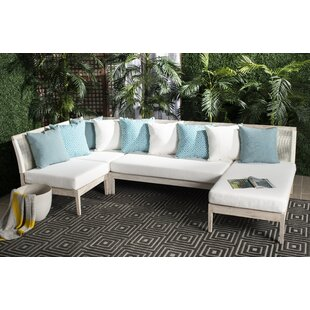 Bungalow Rose Darvin Teak Patio Sectional with Cushions