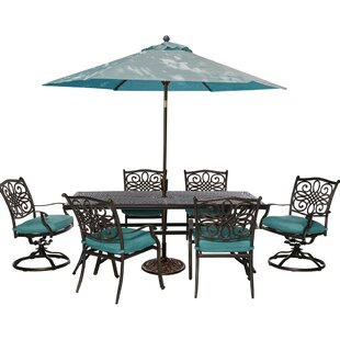 Three Posts Lauritsen 7 Piece Dining Set with Foam Cushions