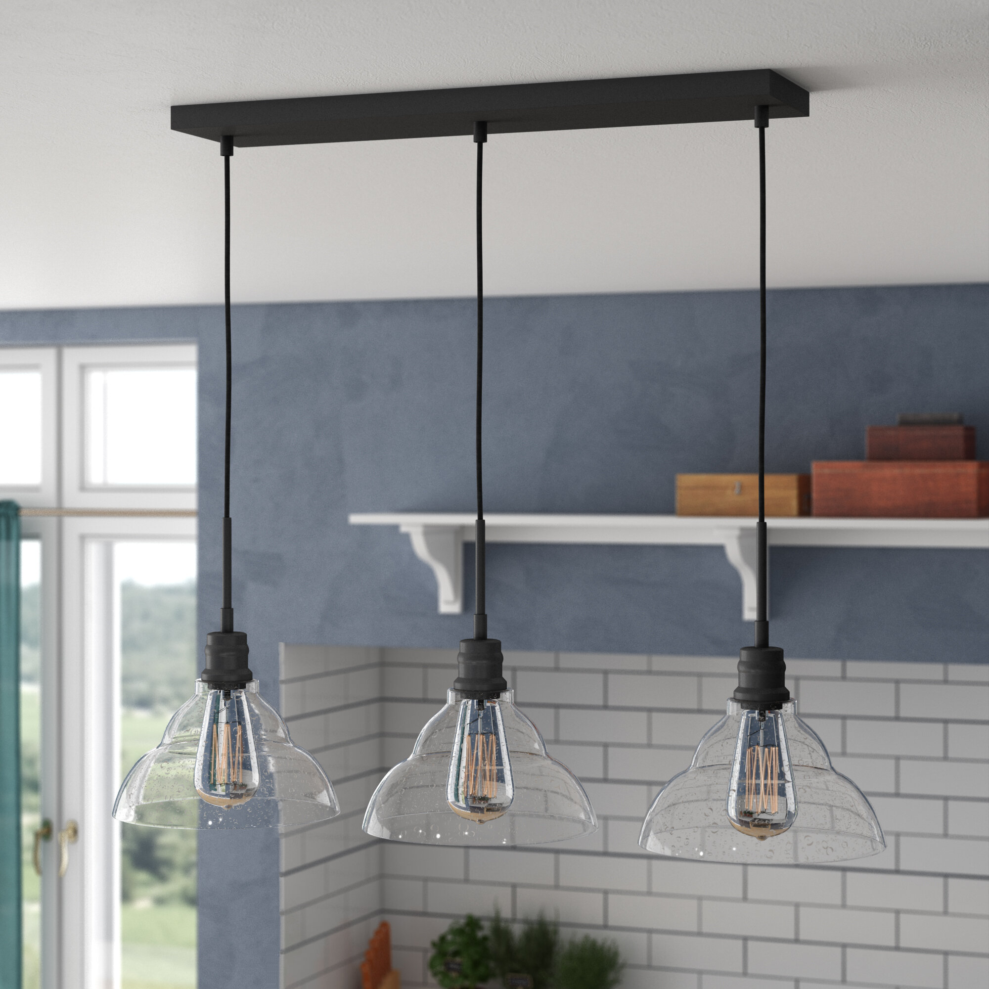 Wrought Studio Shunk 3 Light Kitchen Island Linear Pendant With Glass Accents Reviews Wayfair