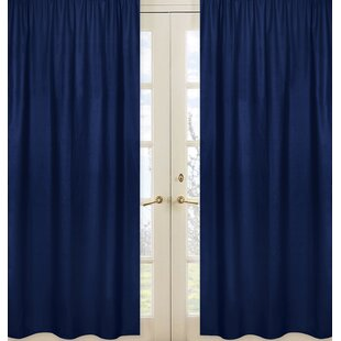 Stripe Collection Navy Blue Semi Sheer Rod Pocket Curtain Panels Set Of 2