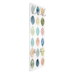 Patterned Leaves II Wall Mounted Coat Rack By Symple Stuff