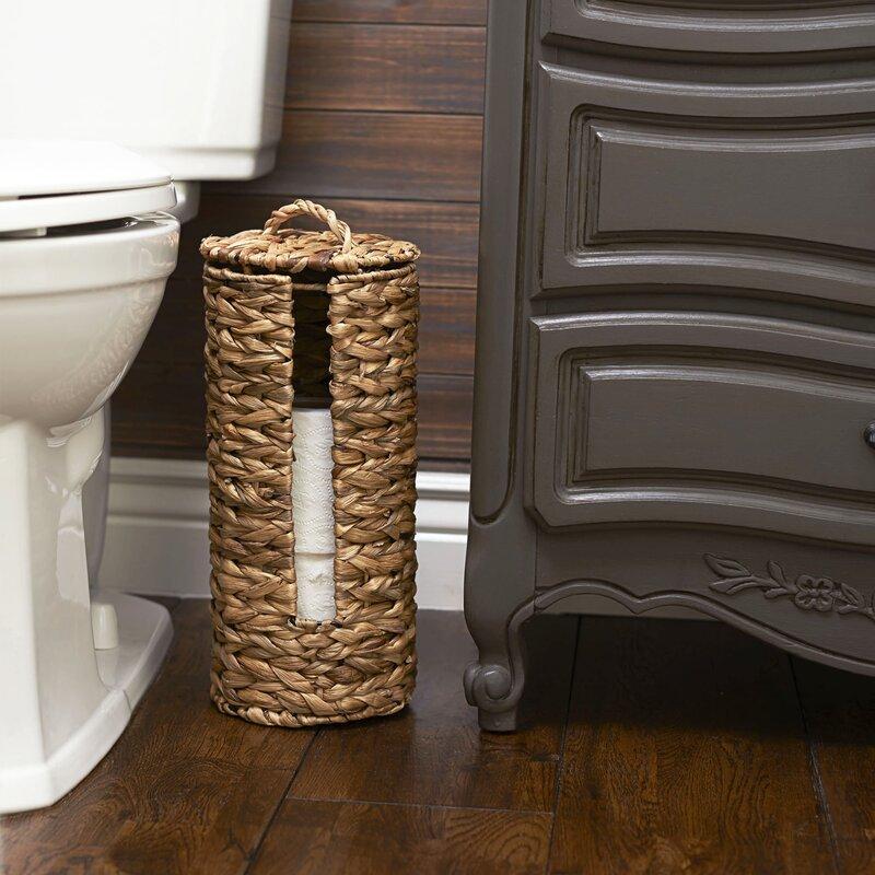 Porte-rouleaux de papier toilette Bambou autoportante salle de bain serviettes en papier tissu de stockage