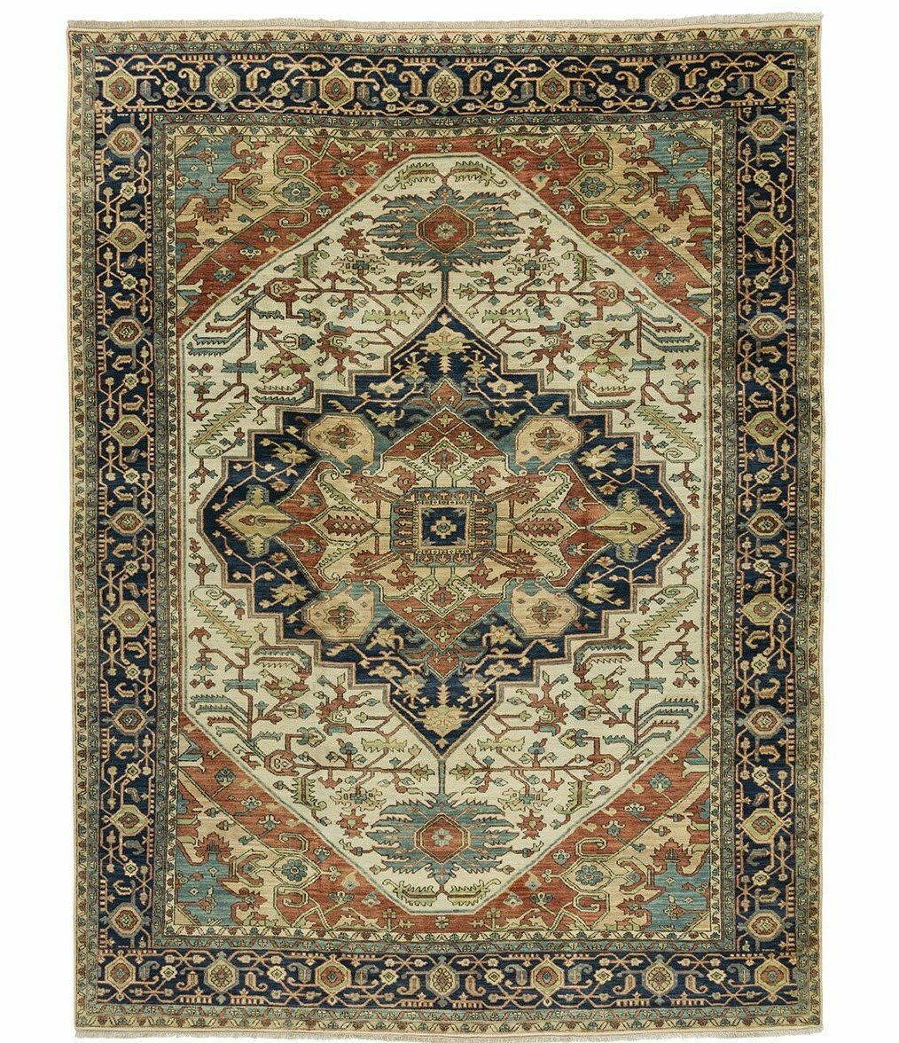 Tufenkian One Of A Kind Indo Hand Knotted Serapi Beige Black 9 X 12 Wool Area Rug Wayfair
