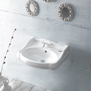 1837 Ceramic 24 Wall Mount Bathroom Sink with Overflow