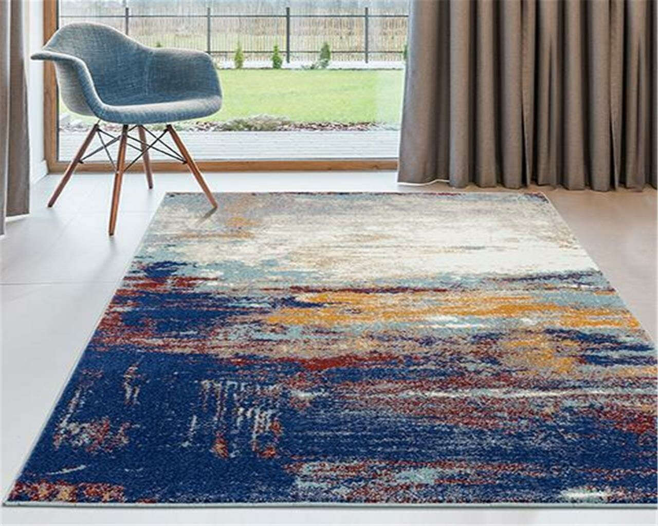 Wrought Studio Bellicent Abstract Blue Ivory Area Rug Reviews Wayfair