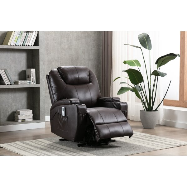 Ebern Designs Annarae Faux Leather Power Lift Assist Recliner With Massage Reviews Wayfair