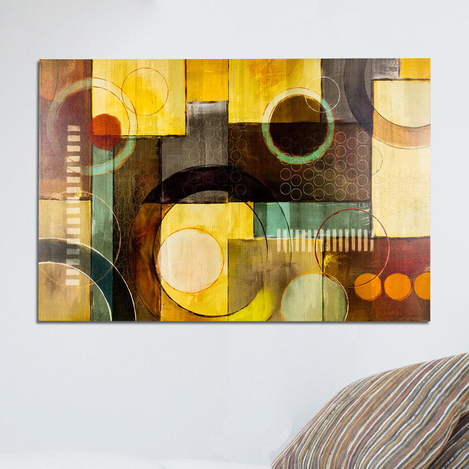 CYRG Geometric Painting Print on Wrapped Canvas in Brown/Yellow ...