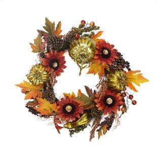 24 Artificial Pumpkin and Sunflower Autumn Harvest Thanksgiving Wreath by Northlight Seasonal