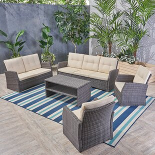 Pascua Outdoor 7 Piece Rattan Sofa Seating Group with Cushions by Rosecliff Heights