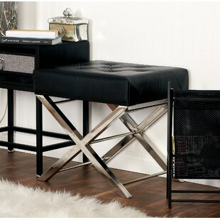 Online Reviews Stainless Steel and Tufted Leather Vanity Stool ByCole & Grey