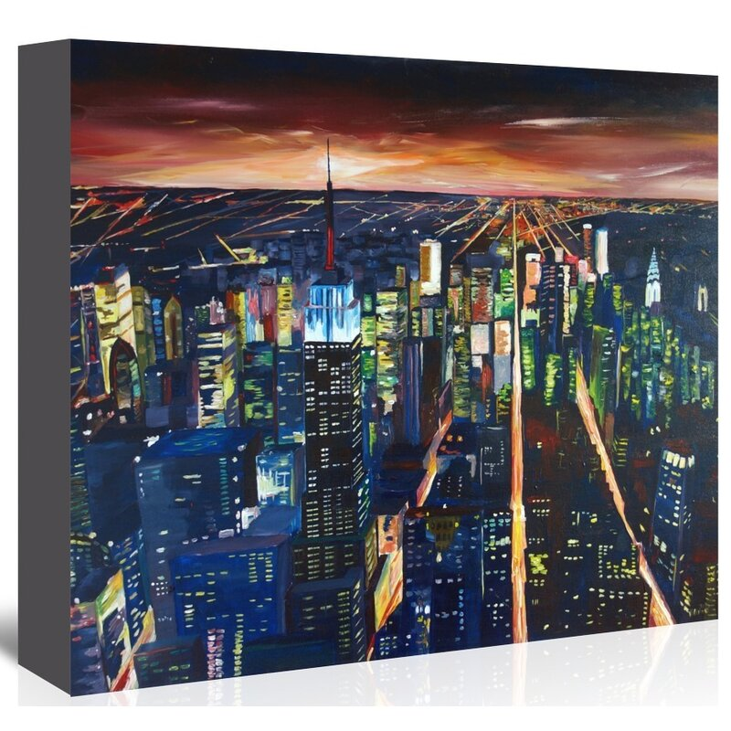 East Urban Home Empire State Building New York City Night 2 Graphic Art On Wrapped Canvas Wayfair