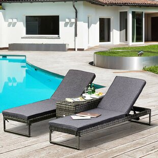 Nantan Double Reclining Sun Lounger With Cushion And Table By Sol 72 Outdoor