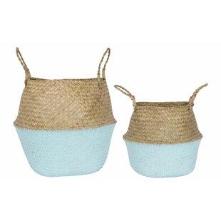Mattapoisett Dipped Wicker 2 Piece Basket Set By Beachcrest Home