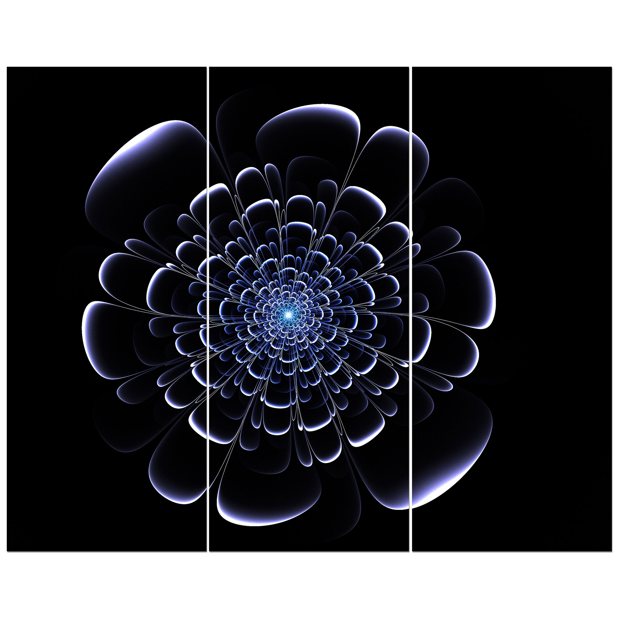 east urban home fractal blue flower on black graphic art print multi piece image on wrapped canvas wayfair