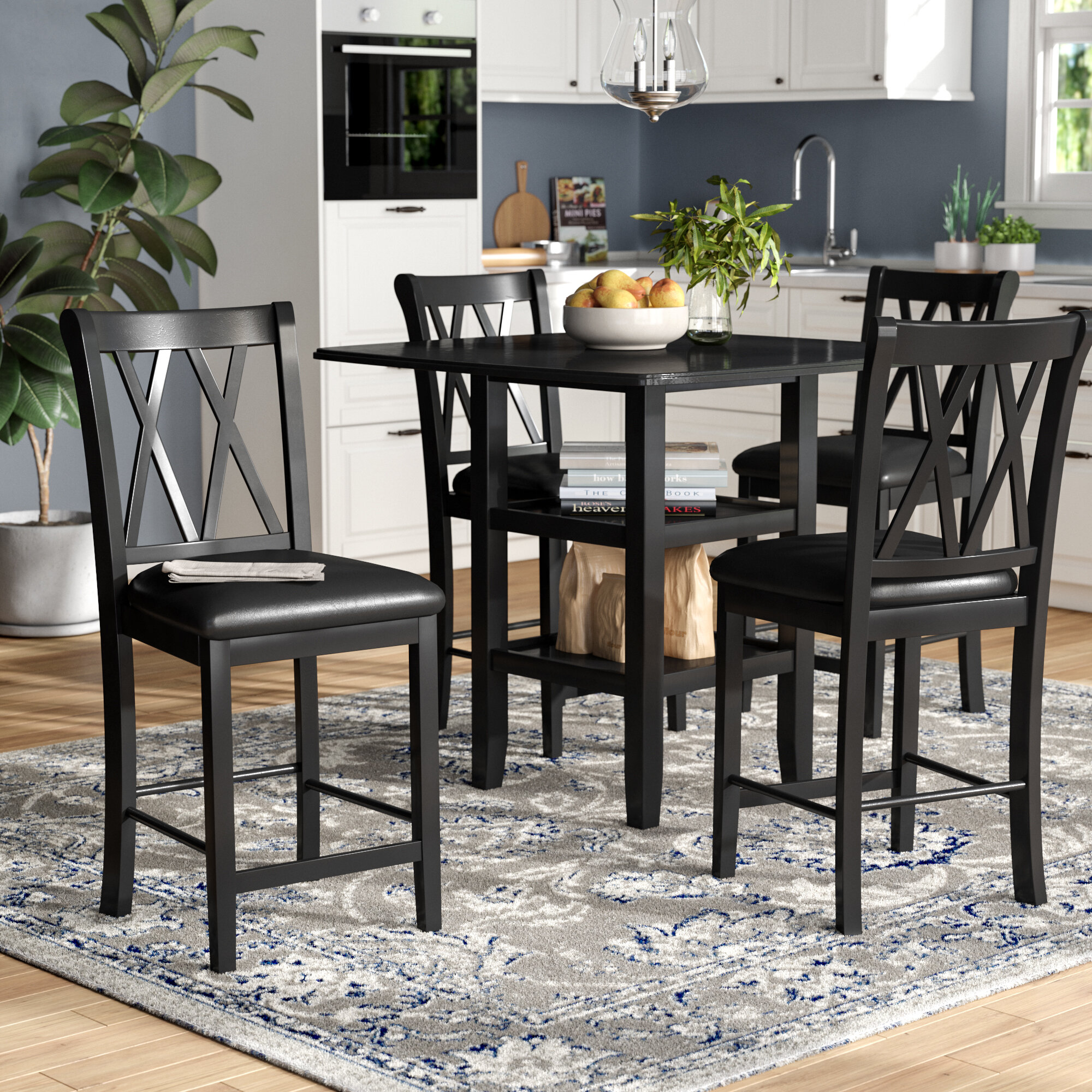 Picture of: Gracie Oaks Wanette 5 Piece Counter Height Dining Set Reviews Wayfair
