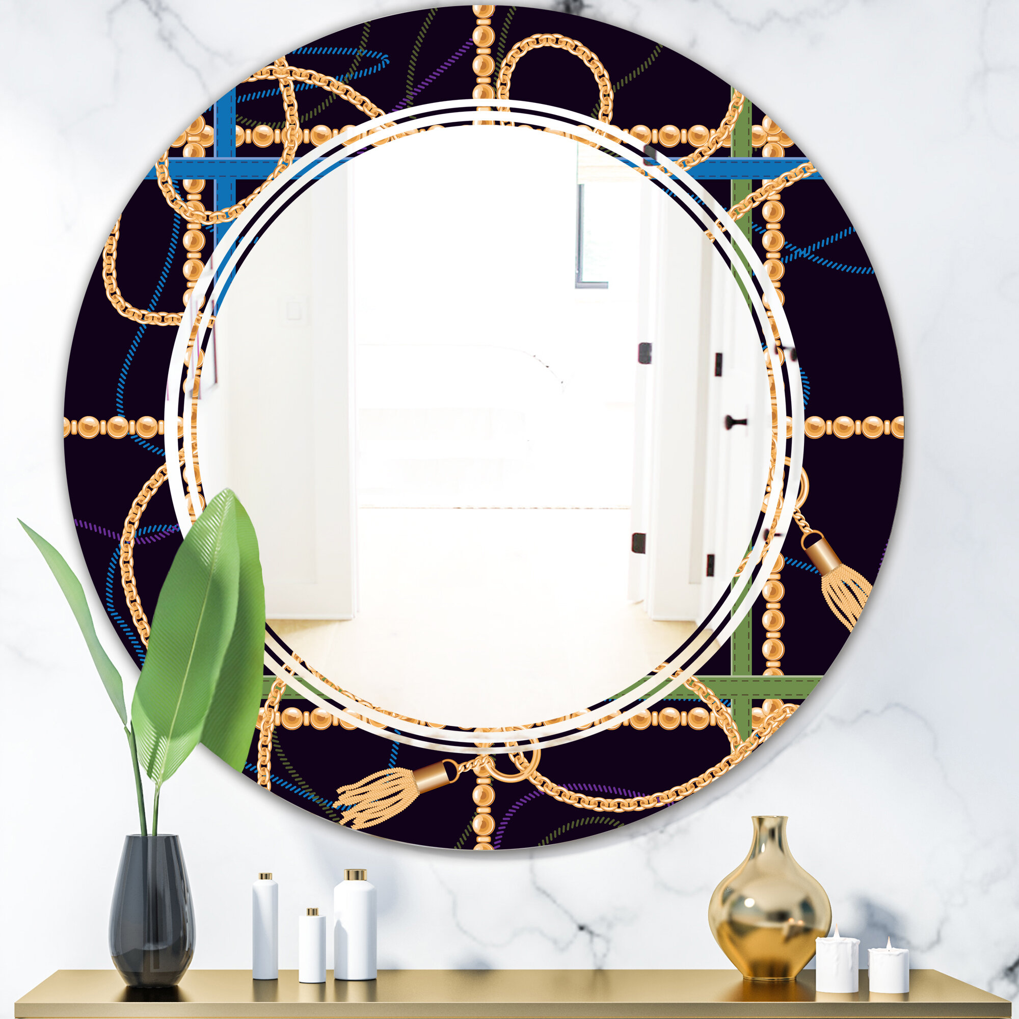 East Urban Home Trendy Chain Pattern Triple C Traditional Frameless Wall Mirror Wayfair