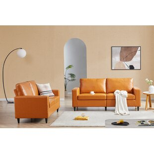 Sofa And Loveseat Sets Morden Style PU Leather Couch Furniture Upholstered 3 Seat Sofa Couch And Loveseat For Home Or Office (2+3 Seat) by Corrigan Studio