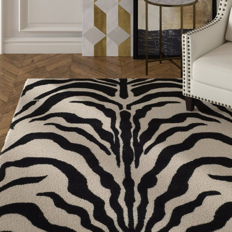 Mercer41 Roloff Hand Tufted Wool Ivory Black Area Rug
