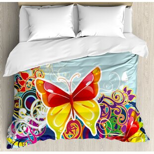East Urban Home Colorful Butterflies and Floral Ornaments Fantasy Design Vibrant Wings Artwork Duvet Set