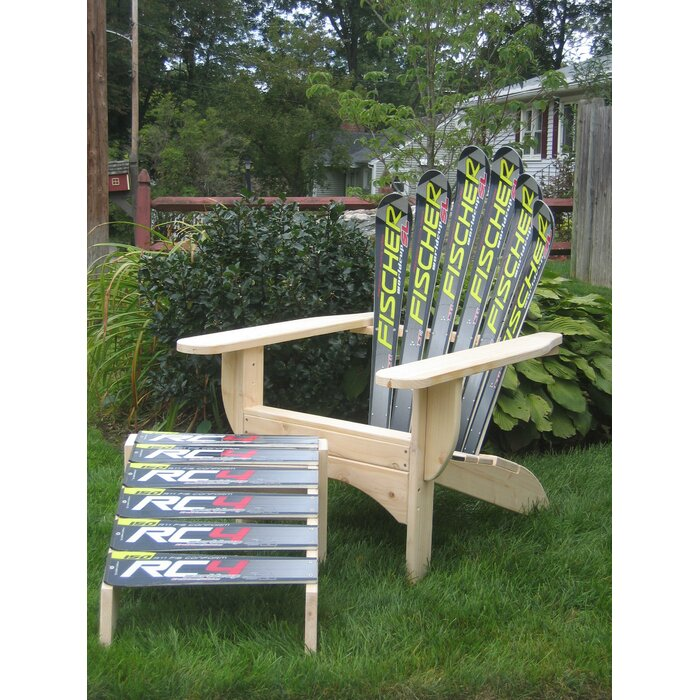 Terrific Snow Solid Wood Adirondack Chair With Ottoman Gmtry Best Dining Table And Chair Ideas Images Gmtryco