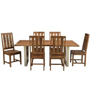 Jozereau Live Edge 7 Piece Solid Wood Dining Set