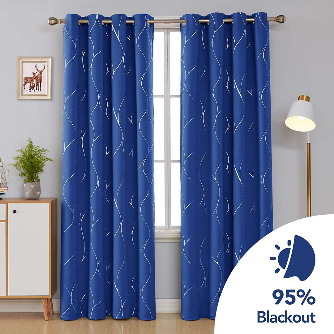 Seligman Wave Foil Printed Blackout Thermal Curtains