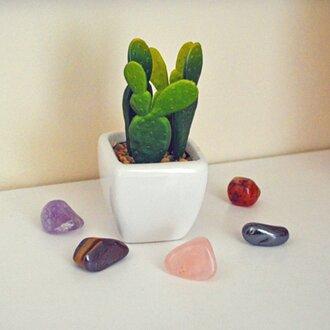 closeup of a mini faux cactus