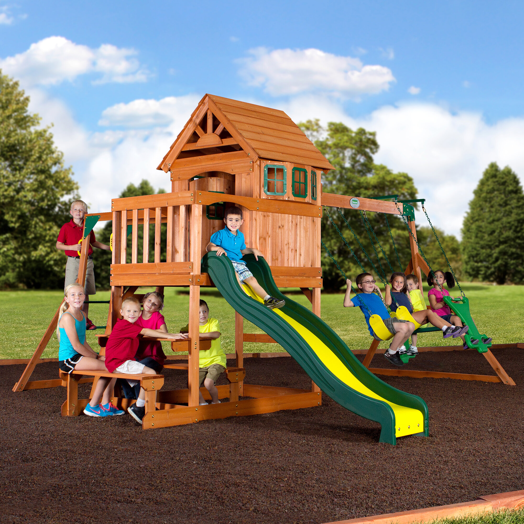 Backyard Discovery Springboro All Cedar Swing Set Reviews Wayfair