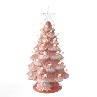 13 pink artificial christmas tree with warm white led light